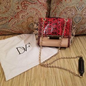 Diane von Furstenberg Red Tan Clutch Crossbody